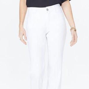 NYDJ white stretch linen high rise pants lift/tuck
